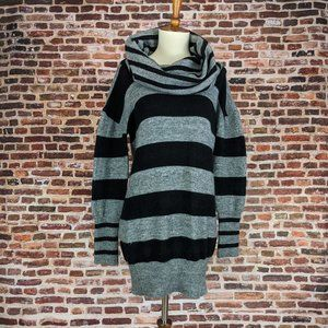 Black Stripe Oversize Sweater Cowl Neck S Acrylic